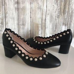 KATE SPADE Maeve Pearl Studded Block Heel Black